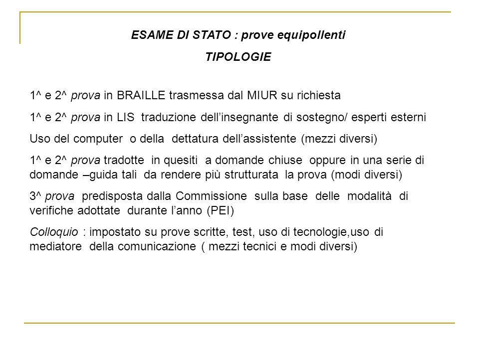 ESAME DI STATO : prove equipollenti TIPOLOGIE 1^ e 2^ prova in BRAILLE trasmessa dal MIUR su richiesta 1^ e 2^ prova in LIS traduzione dellinsegnante