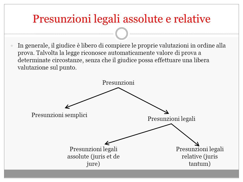 Presunzioni legali assolute e relative In generale, il giudice è libero di compiere le proprie valutazioni in ordine alla prova.
