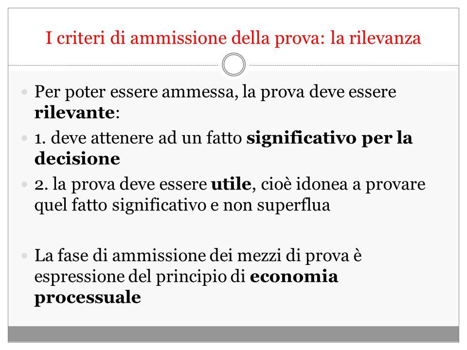 I criteri di ammissione della prova: la rilevanza Per poter essere ammessa, la prova deve essere rilevante: 1.