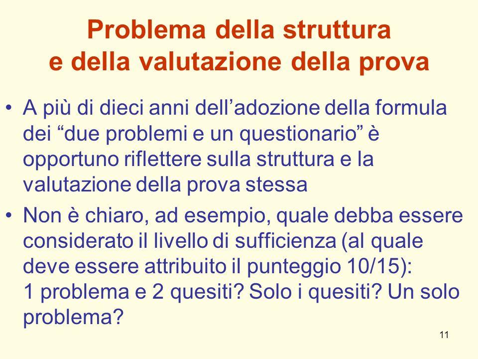 11 Problema della struttura e della valutazione della prova A più di dieci anni delladozione della formula dei due problemi e un questionario è opport