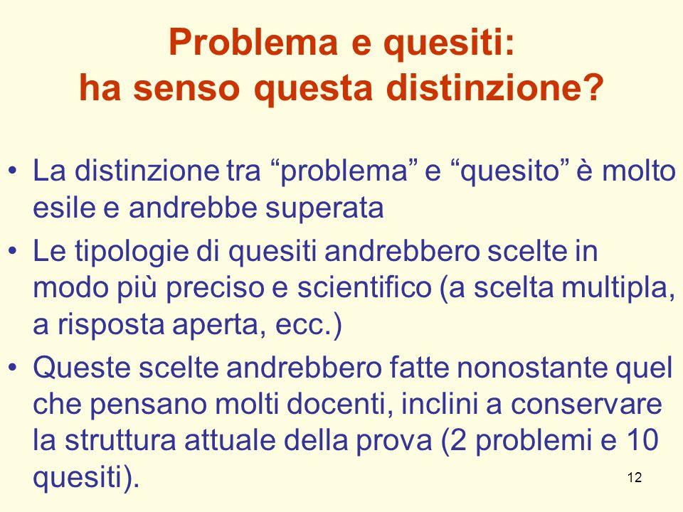 12 Problema e quesiti: ha senso questa distinzione? La distinzione tra problema e quesito è molto esile e andrebbe superata Le tipologie di quesiti an