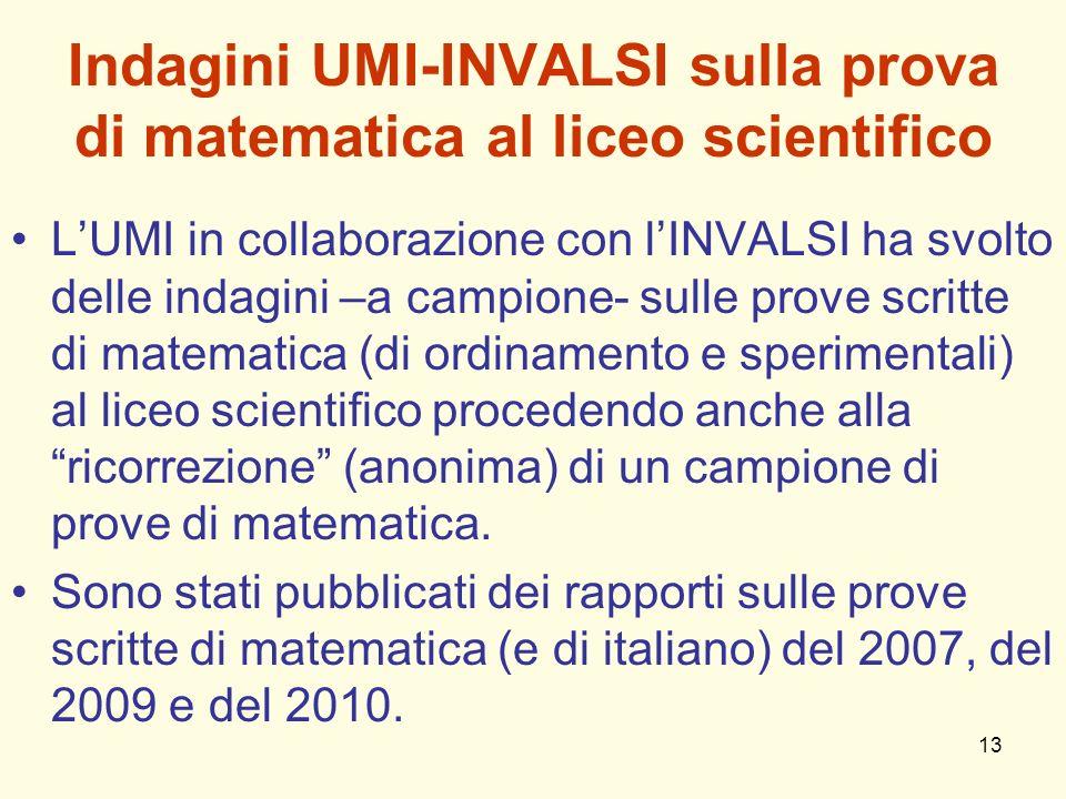 13 Indagini UMI-INVALSI sulla prova di matematica al liceo scientifico LUMI in collaborazione con lINVALSI ha svolto delle indagini –a campione- sulle