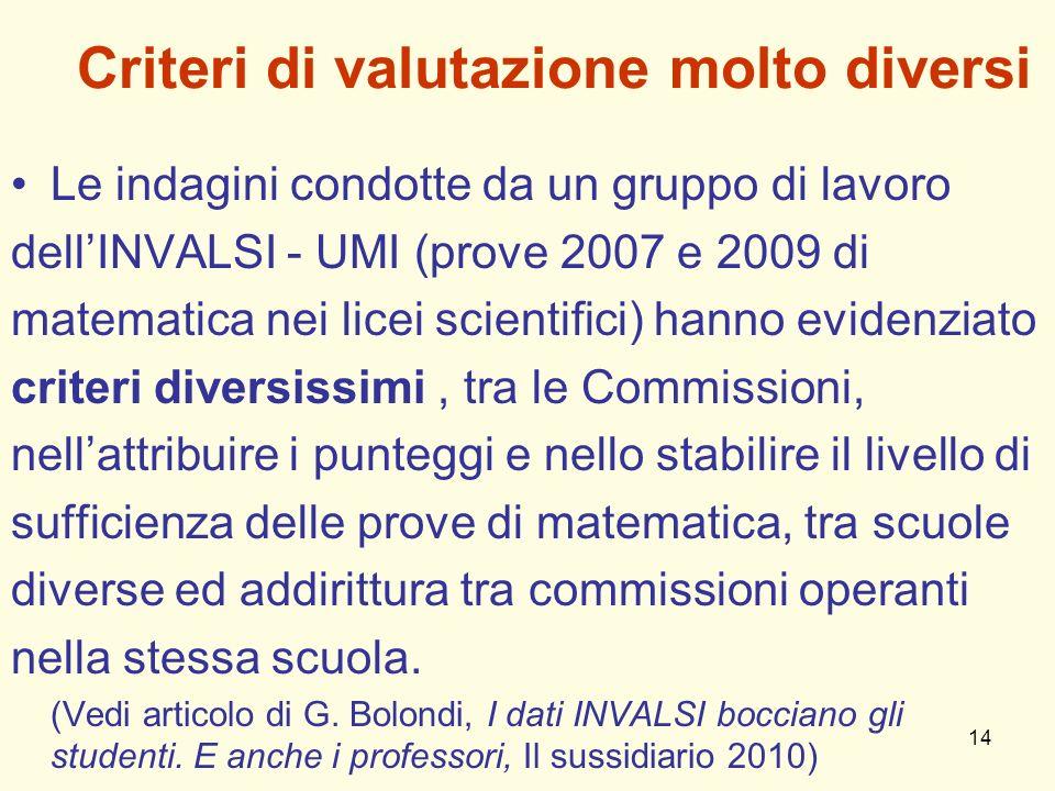14 Criteri di valutazione molto diversi Le indagini condotte da un gruppo di lavoro dellINVALSI - UMI (prove 2007 e 2009 di matematica nei licei scien
