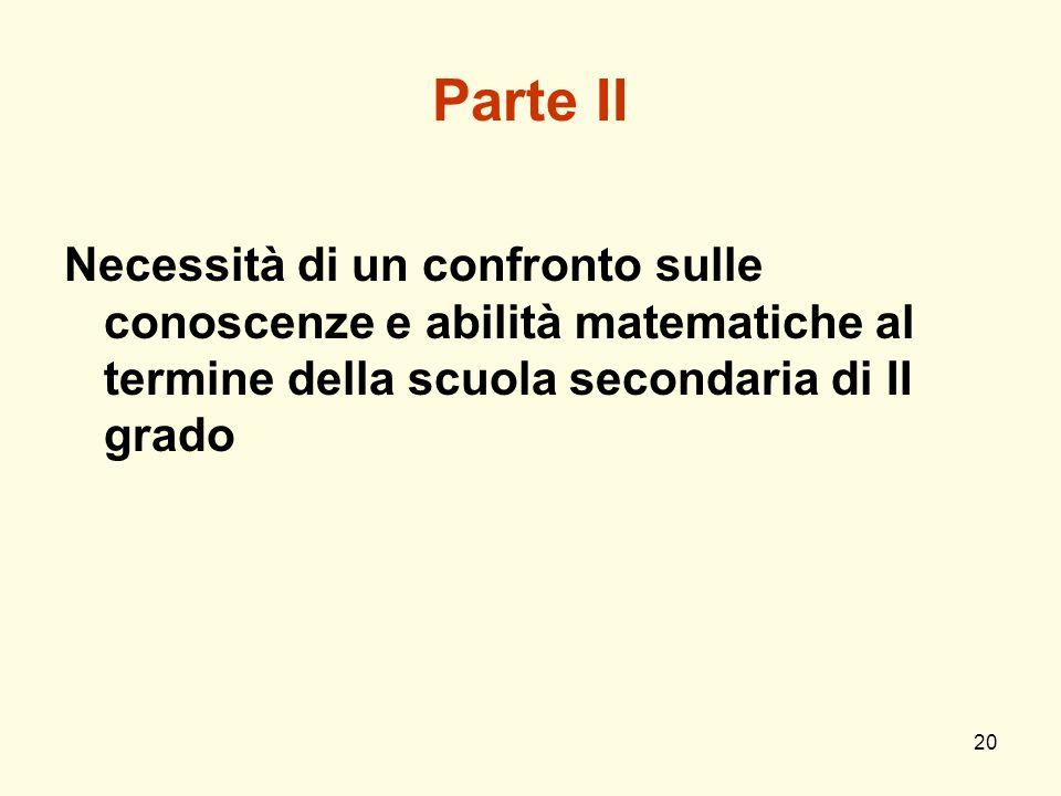 20 Parte II Necessità di un confronto sulle conoscenze e abilità matematiche al termine della scuola secondaria di II grado