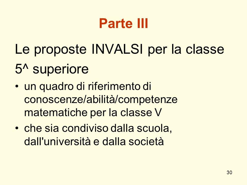 30 Parte III Le proposte INVALSI per la classe 5^ superiore un quadro di riferimento di conoscenze/abilità/competenze matematiche per la classe V che
