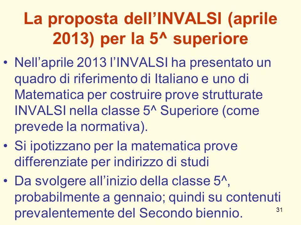 31 La proposta dellINVALSI (aprile 2013) per la 5^ superiore Nellaprile 2013 lINVALSI ha presentato un quadro di riferimento di Italiano e uno di Mate