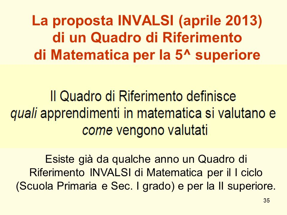 35 La proposta INVALSI (aprile 2013) di un Quadro di Riferimento di Matematica per la 5^ superiore Esiste già da qualche anno un Quadro di Riferimento