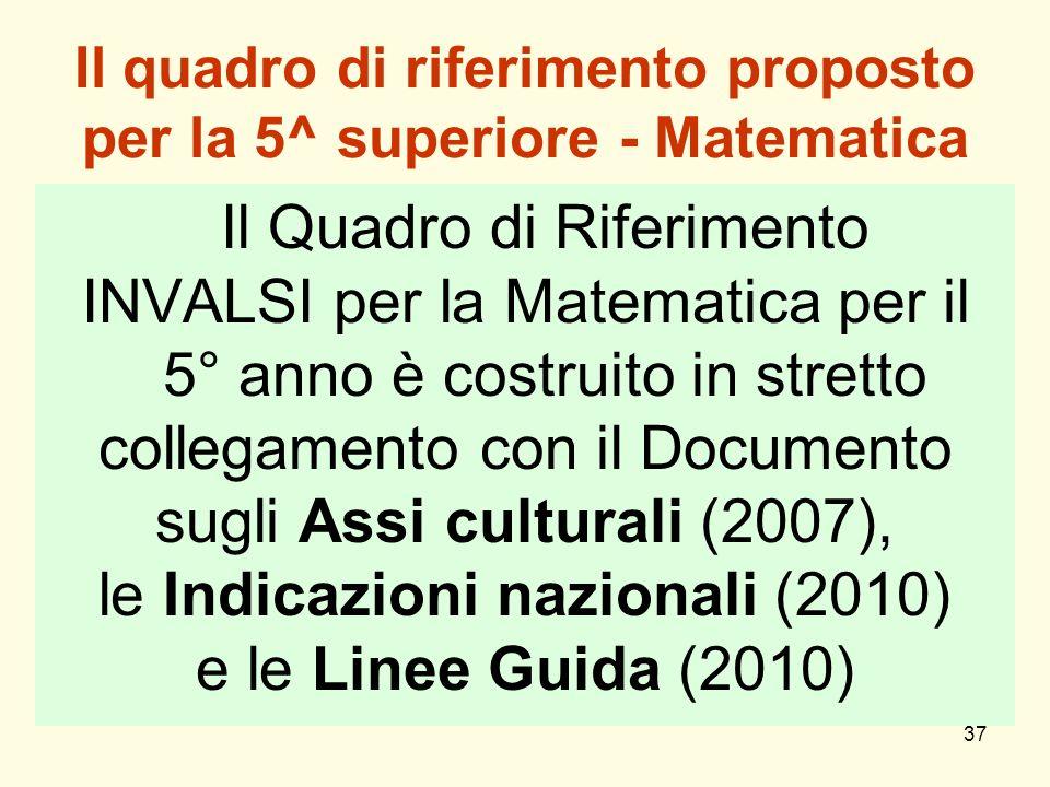 37 Il quadro di riferimento proposto per la 5^ superiore - Matematica Il Quadro di Riferimento INVALSI per la Matematica per il 5° anno è costruito in