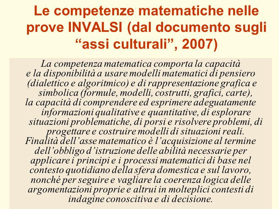 39 Le competenze matematiche nelle prove INVALSI (dal documento sugli assi culturali, 2007) La competenza matematica comporta la capacità e la disponi