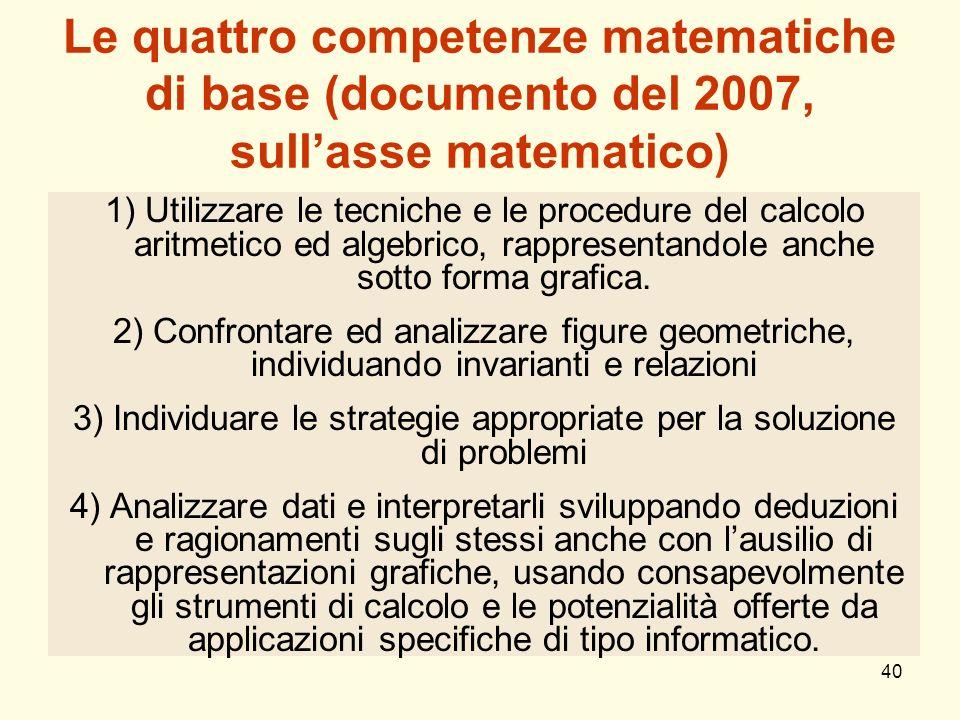 40 Le quattro competenze matematiche di base (documento del 2007, sullasse matematico) 1)Utilizzare le tecniche e le procedure del calcolo aritmetico
