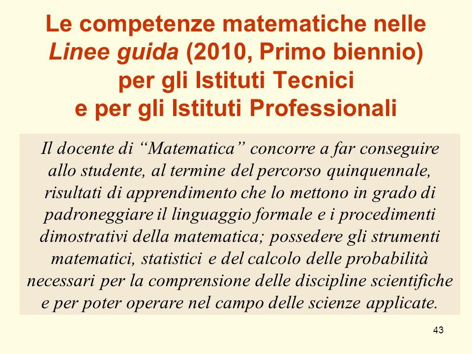 43 Le competenze matematiche nelle Linee guida (2010, Primo biennio) per gli Istituti Tecnici e per gli Istituti Professionali Il docente di Matematic