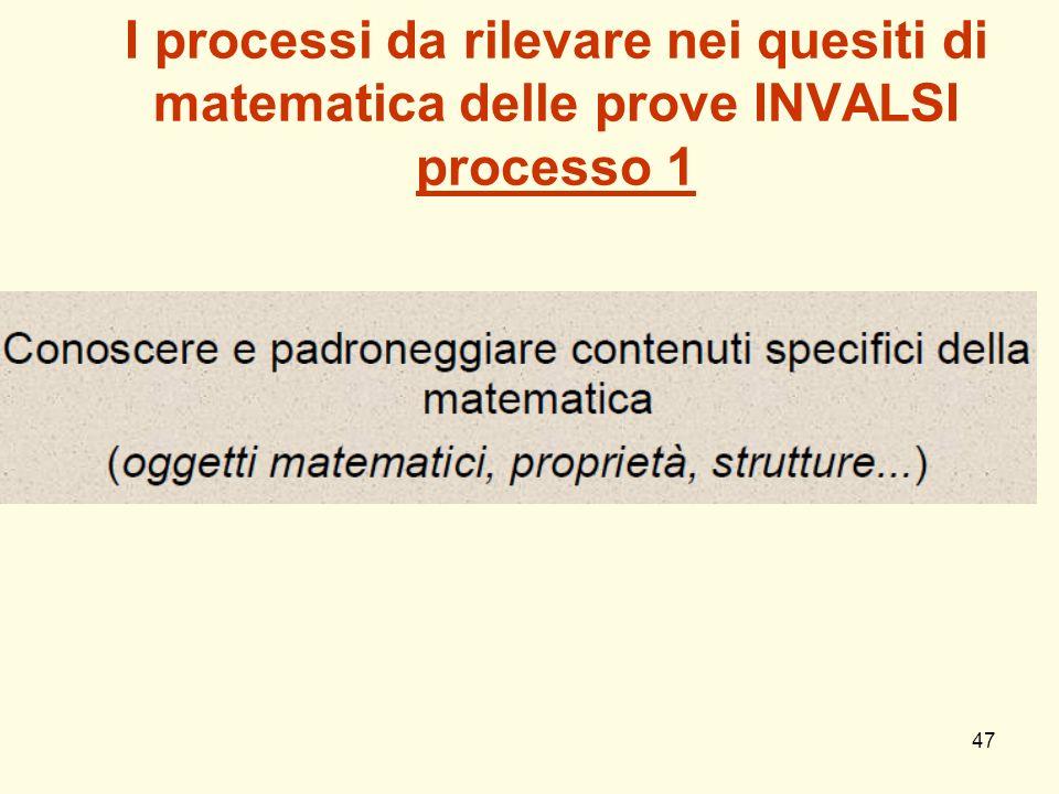 47 I processi da rilevare nei quesiti di matematica delle prove INVALSI processo 1
