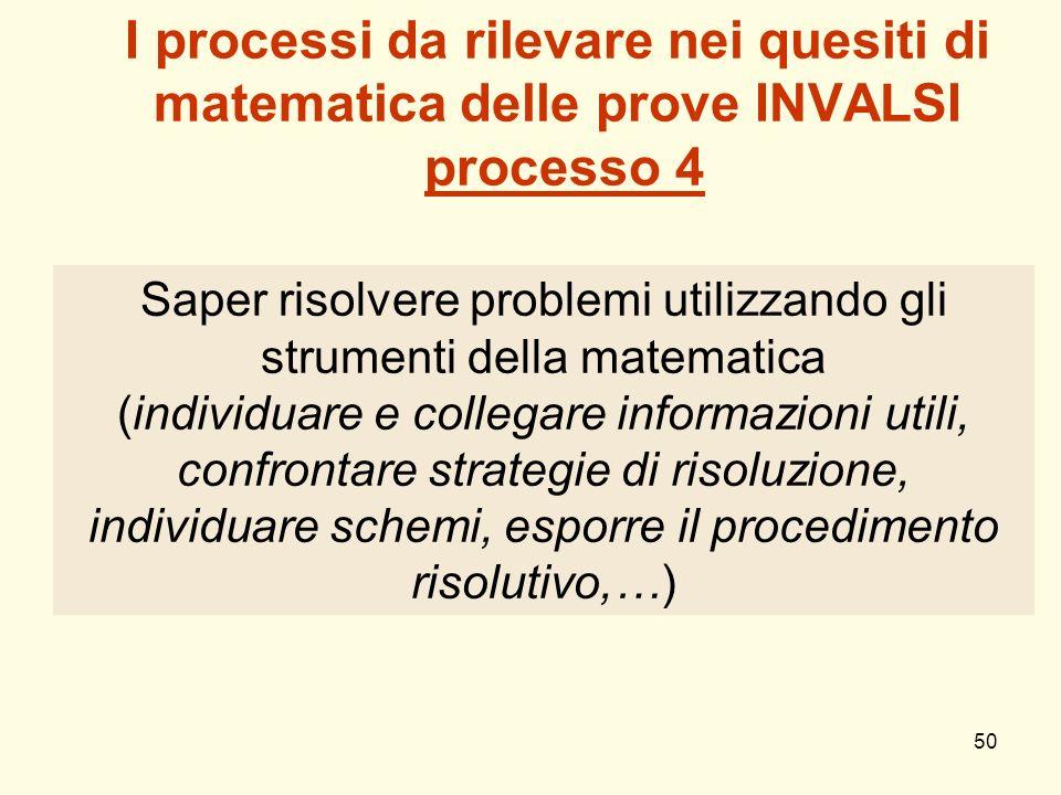 50 I processi da rilevare nei quesiti di matematica delle prove INVALSI processo 4 Saper risolvere problemi utilizzando gli strumenti della matematica