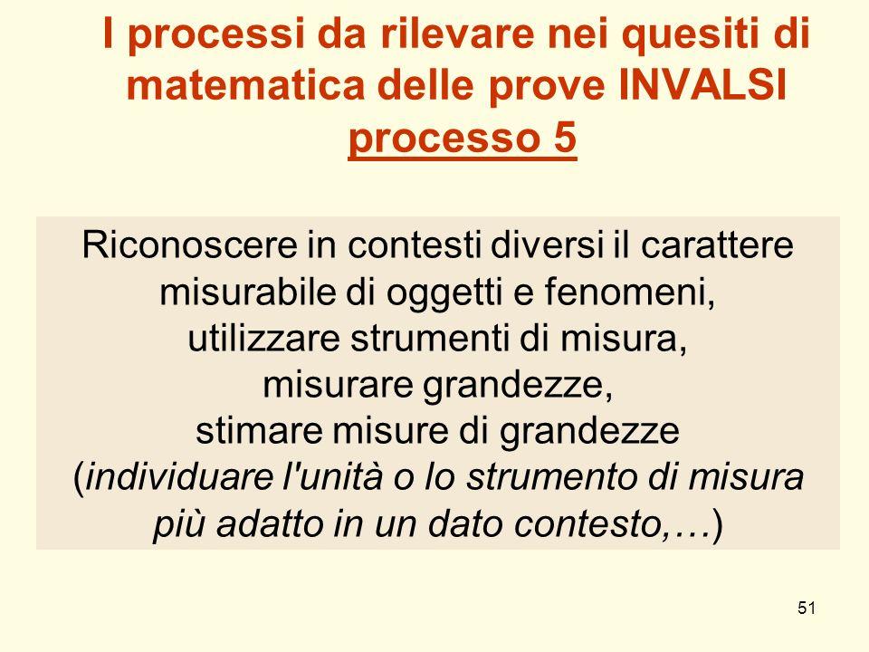 51 I processi da rilevare nei quesiti di matematica delle prove INVALSI processo 5 Riconoscere in contesti diversi il carattere misurabile di oggetti