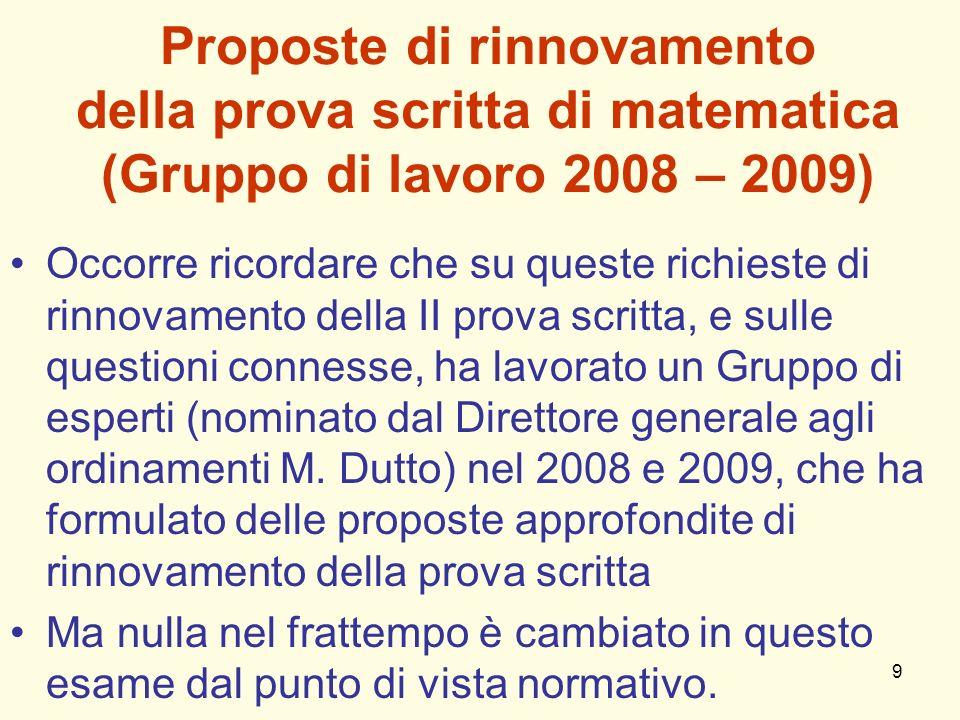 9 Proposte di rinnovamento della prova scritta di matematica (Gruppo di lavoro 2008 – 2009) Occorre ricordare che su queste richieste di rinnovamento