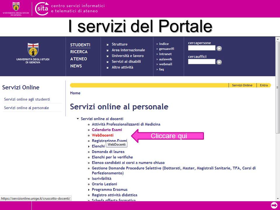 I servizi del Portale Cliccare qui