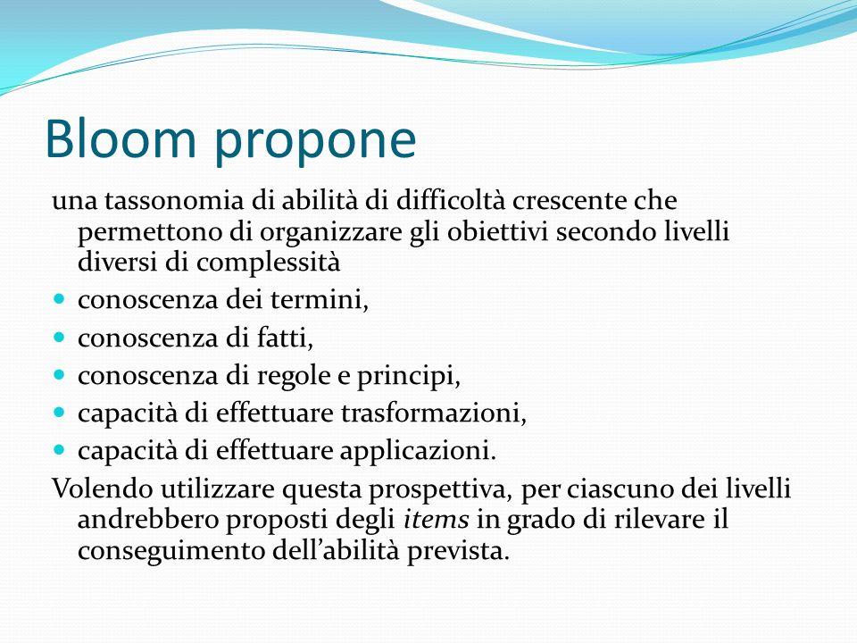 Bloom propone una tassonomia di abilità di difficoltà crescente che permettono di organizzare gli obiettivi secondo livelli diversi di complessità con