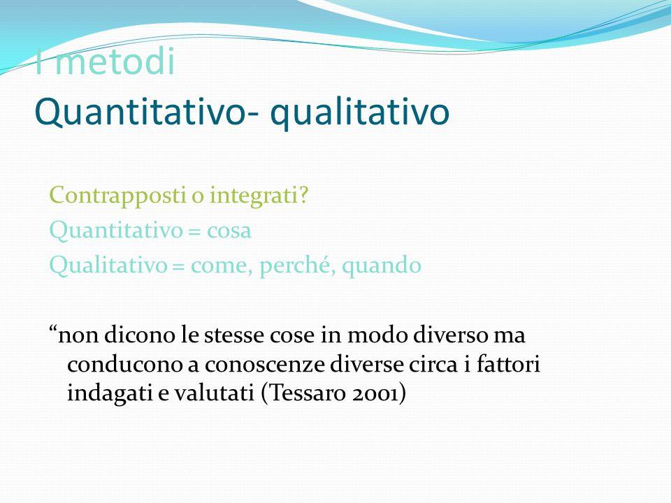 I metodi Quantitativo- qualitativo Contrapposti o integrati? Quantitativo = cosa Qualitativo = come, perché, quando non dicono le stesse cose in modo