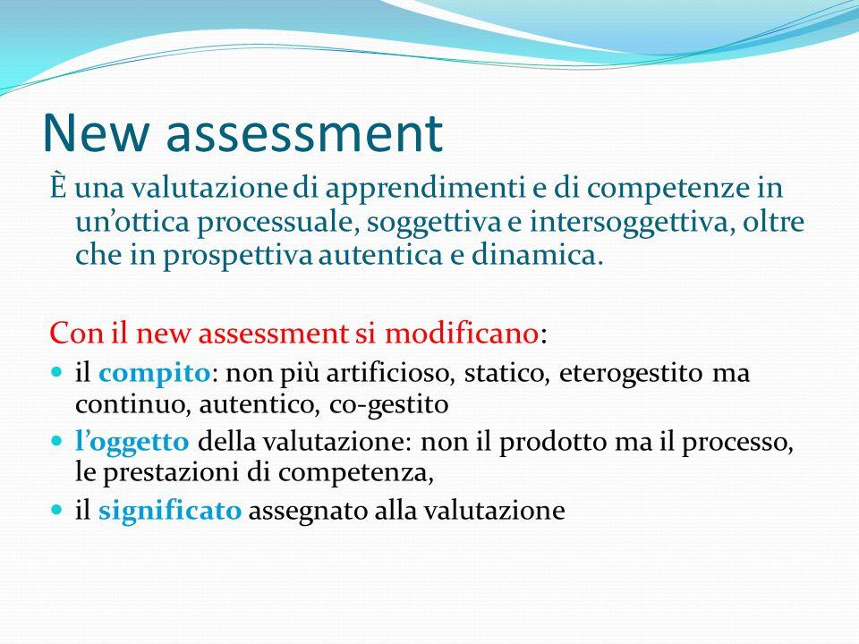 New assessment È una valutazione di apprendimenti e di competenze in unottica processuale, soggettiva e intersoggettiva, oltre che in prospettiva aute