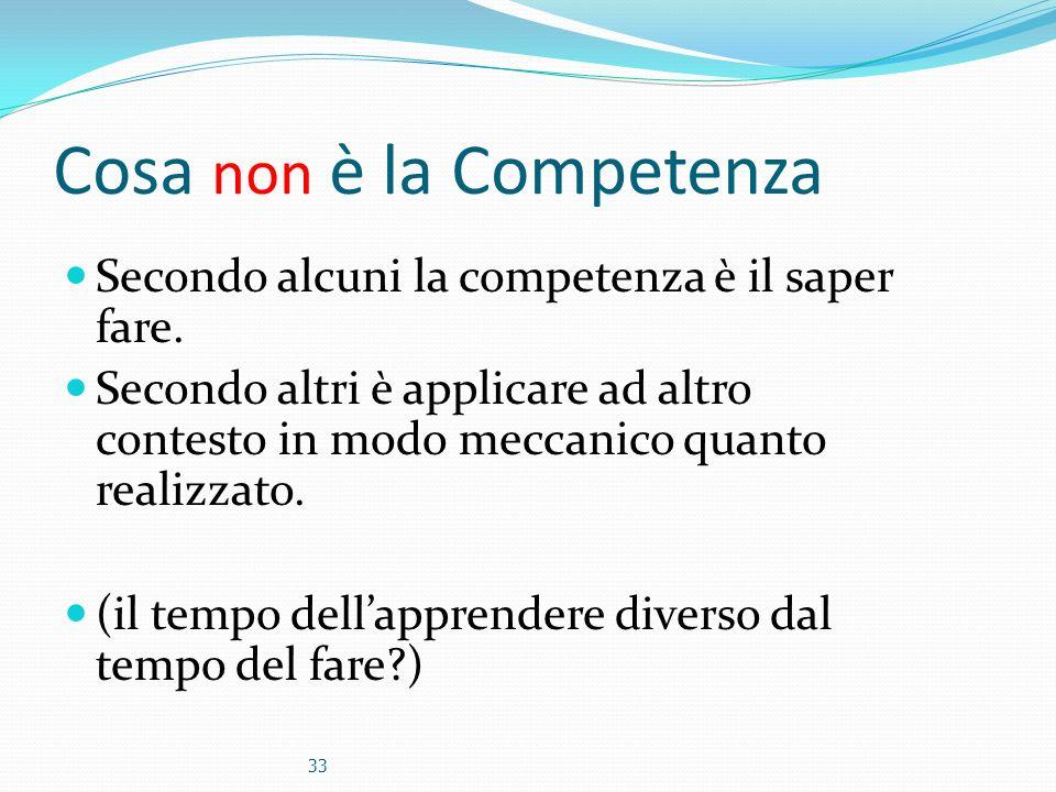 Cosa non è la Competenza Secondo alcuni la competenza è il saper fare. Secondo altri è applicare ad altro contesto in modo meccanico quanto realizzato