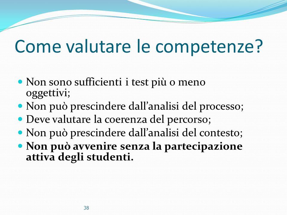 Come valutare le competenze? Non sono sufficienti i test più o meno oggettivi; Non può prescindere dallanalisi del processo; Deve valutare la coerenza