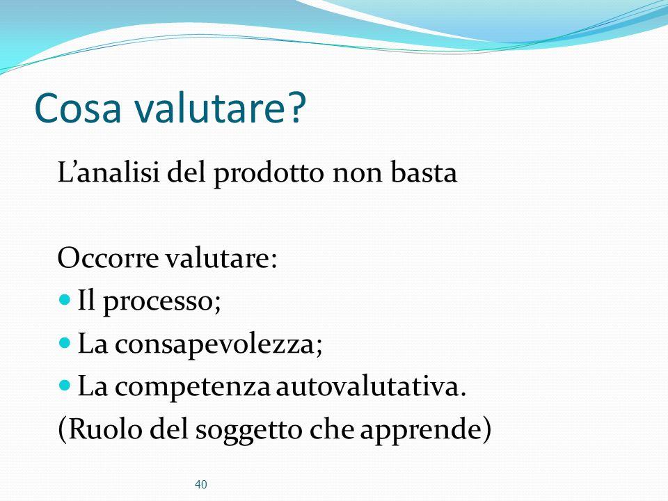 Cosa valutare? Lanalisi del prodotto non basta Occorre valutare: Il processo; La consapevolezza; La competenza autovalutativa. (Ruolo del soggetto che