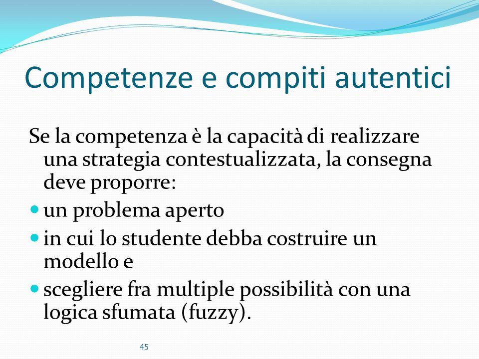 Competenze e compiti autentici Se la competenza è la capacità di realizzare una strategia contestualizzata, la consegna deve proporre: un problema ape