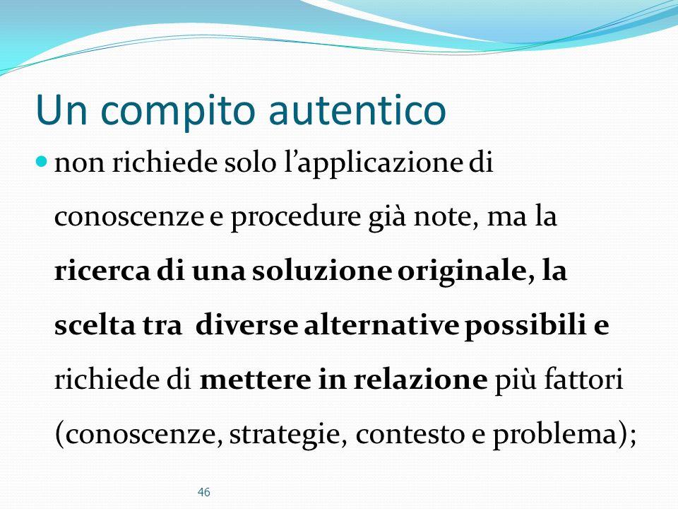 Un compito autentico non richiede solo lapplicazione di conoscenze e procedure già note, ma la ricerca di una soluzione originale, la scelta tra diver
