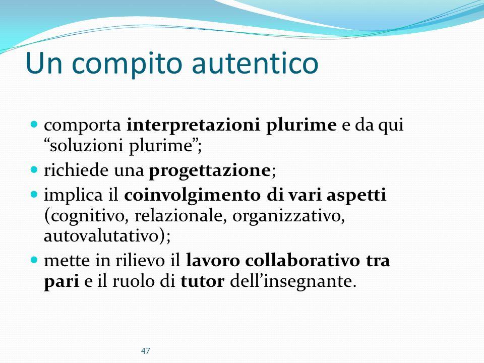 Un compito autentico comporta interpretazioni plurime e da qui soluzioni plurime; richiede una progettazione; implica il coinvolgimento di vari aspett