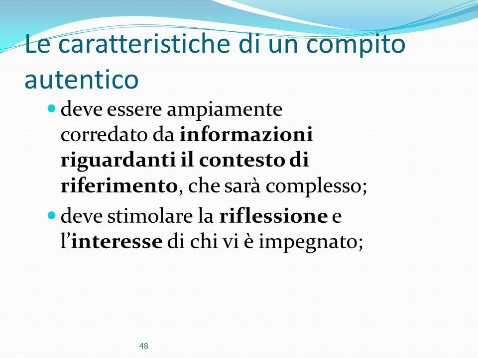 Le caratteristiche di un compito autentico deve essere ampiamente corredato da informazioni riguardanti il contesto di riferimento, che sarà complesso