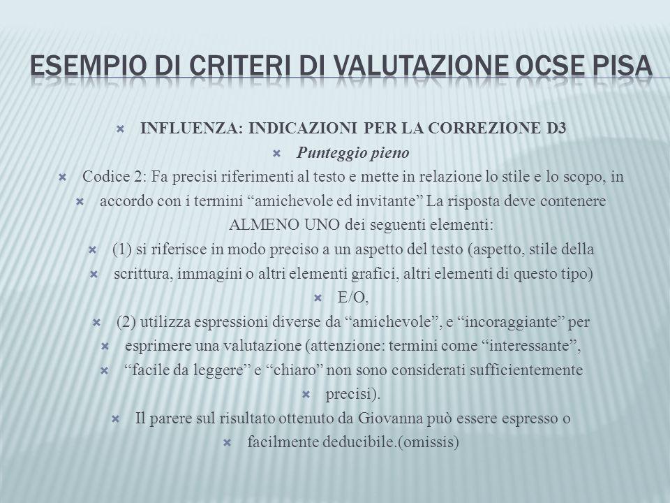 INFLUENZA: INDICAZIONI PER LA CORREZIONE D3 Punteggio pieno Codice 2: Fa precisi riferimenti al testo e mette in relazione lo stile e lo scopo, in acc