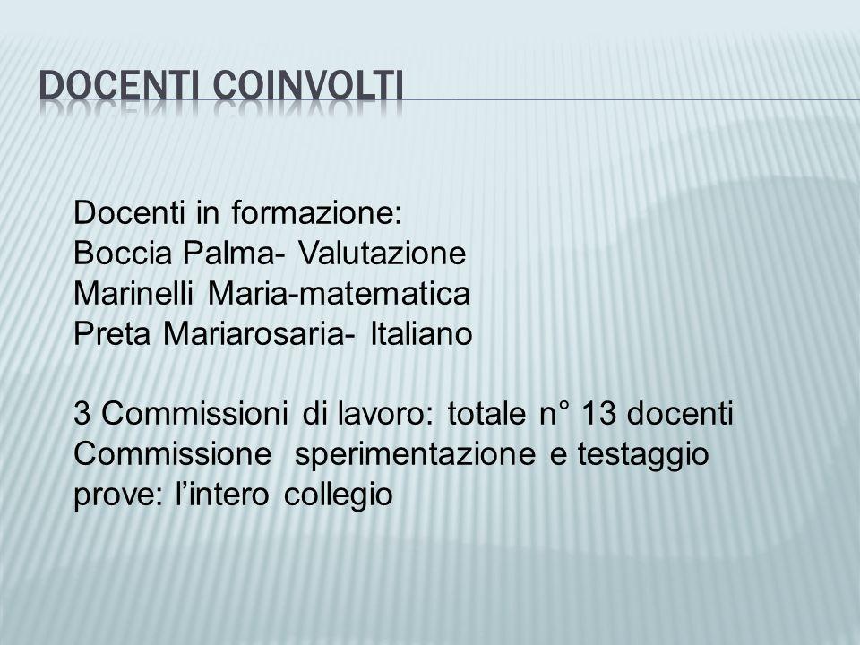 Docenti in formazione: Boccia Palma- Valutazione Marinelli Maria-matematica Preta Mariarosaria- Italiano 3 Commissioni di lavoro: totale n° 13 docenti