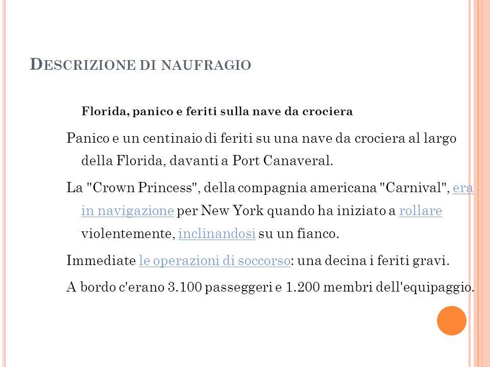D ESCRIZIONE DI NAUFRAGIO Naufragio in Sardegna Il naufragio è avvenuto alle 02.00 del mattino di fronte all isola di Mal di Ventre, quando sul mare forza 9 infuriava una tempesta di vento, di acqua e di pioggia.