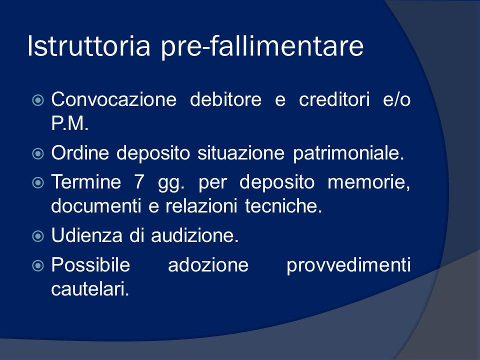 Istruttoria pre-fallimentare Convocazione debitore e creditori e/o P.M. Ordine deposito situazione patrimoniale. Termine 7 gg. per deposito memorie, d