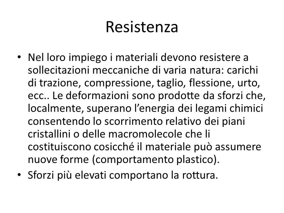 Resistenza Nel loro impiego i materiali devono resistere a sollecitazioni meccaniche di varia natura: carichi di trazione, compressione, taglio, fless