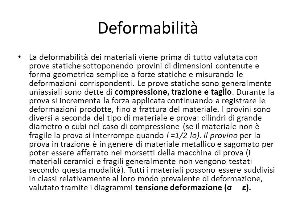 Deformabilità La deformabilità dei materiali viene prima di tutto valutata con prove statiche sottoponendo provini di dimensioni contenute e forma geo