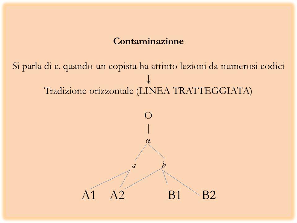 Contaminazione Si parla di c. quando un copista ha attinto lezioni da numerosi codici Tradizione orizzontale (LINEA TRATTEGGIATA) O | α a b A1 A2 B1 B