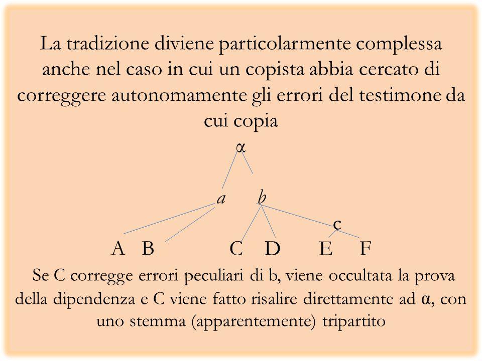 La tradizione diviene particolarmente complessa anche nel caso in cui un copista abbia cercato di correggere autonomamente gli errori del testimone da