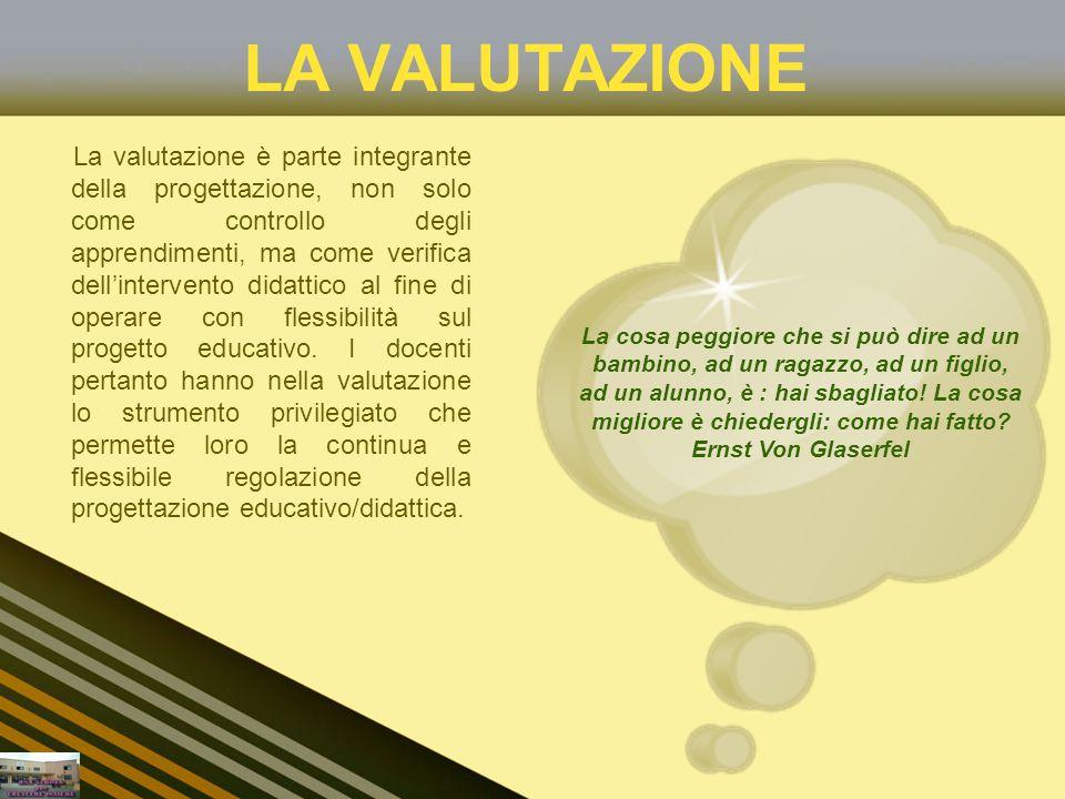 LA VALUTAZIONE La valutazione è parte integrante della progettazione, non solo come controllo degli apprendimenti, ma come verifica dellintervento did