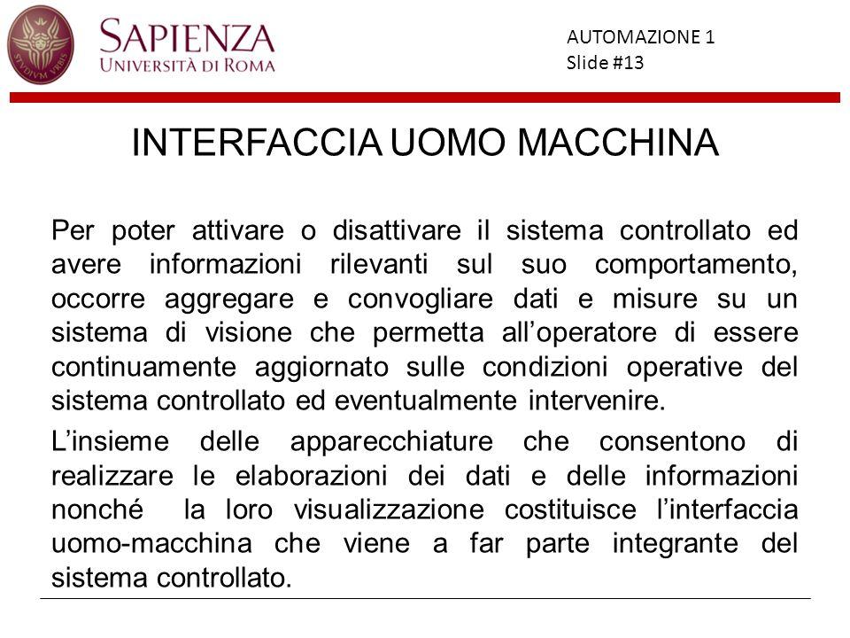 Facoltà di Ingegneria AUTOMAZIONE 1 Slide #13 INTERFACCIA UOMO MACCHINA Per poter attivare o disattivare il sistema controllato ed avere informazioni