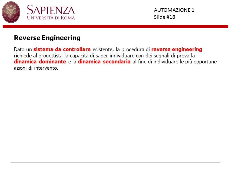 Facoltà di Ingegneria AUTOMAZIONE 1 Slide #18 Dato un sistema da controllare esistente, la procedura di reverse engineering richiede al progettista la