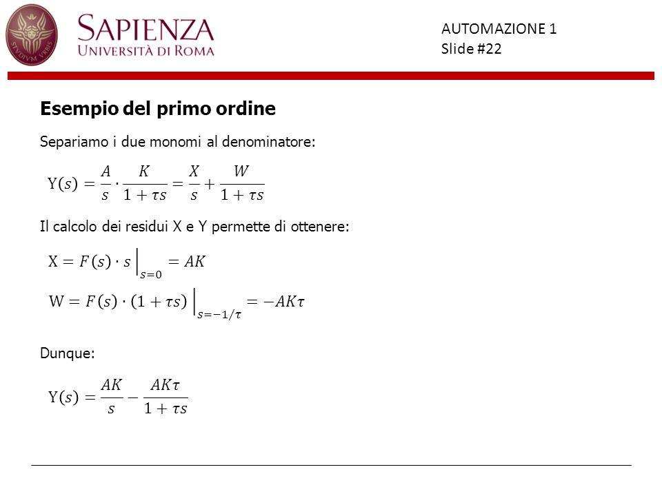 Facoltà di Ingegneria AUTOMAZIONE 1 Slide #22 Esempio del primo ordine Separiamo i due monomi al denominatore: Il calcolo dei residui X e Y permette d
