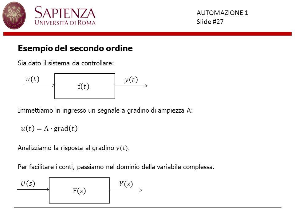 Facoltà di Ingegneria AUTOMAZIONE 1 Slide #27 Esempio del secondo ordine