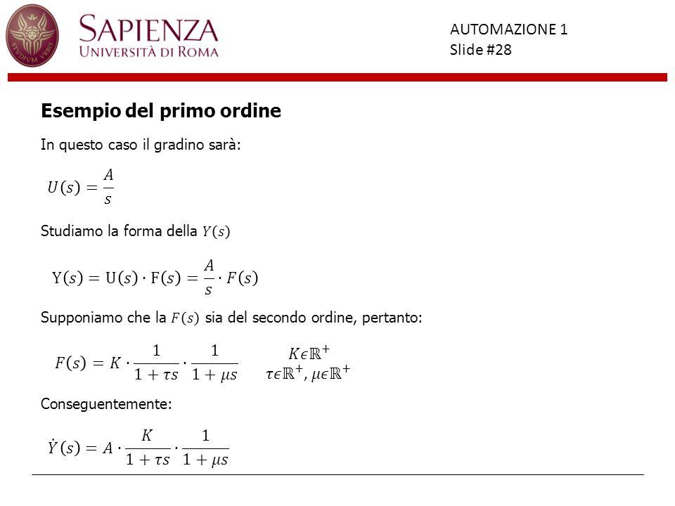 Facoltà di Ingegneria AUTOMAZIONE 1 Slide #28 Esempio del primo ordine