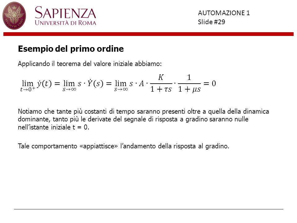 Facoltà di Ingegneria AUTOMAZIONE 1 Slide #29 Esempio del primo ordine Applicando il teorema del valore iniziale abbiamo: Notiamo che tante più costan