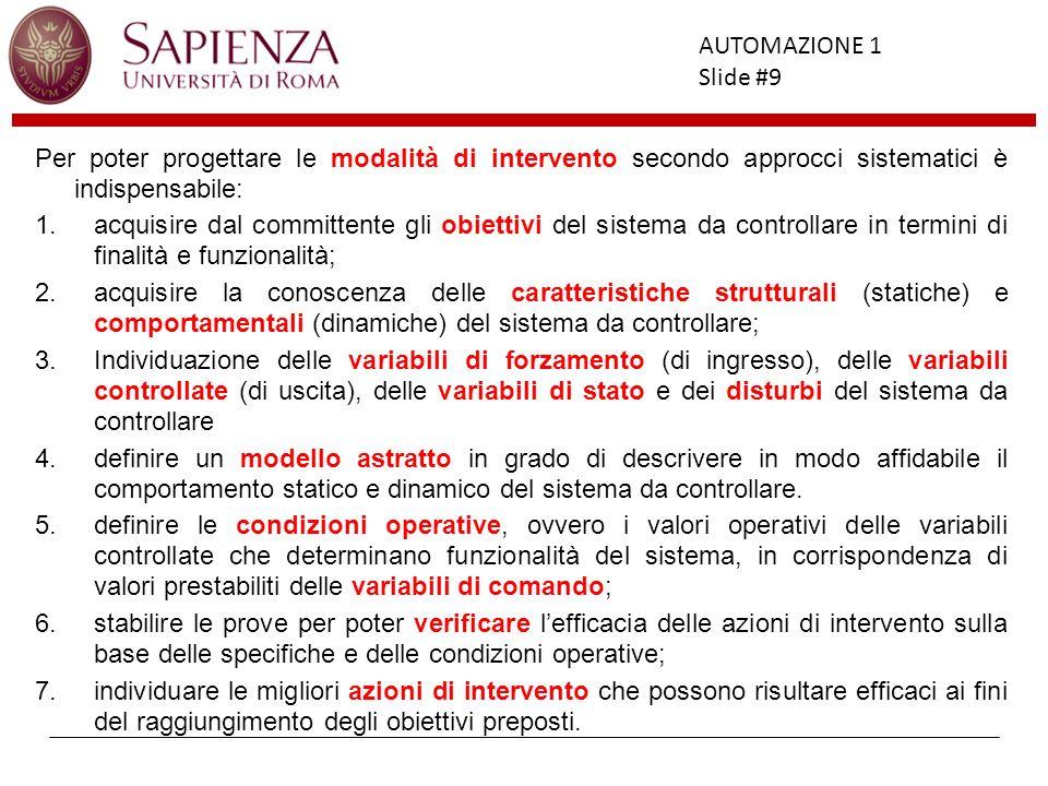 Facoltà di Ingegneria AUTOMAZIONE 1 Slide #9 Per poter progettare le modalità di intervento secondo approcci sistematici è indispensabile: 1.acquisire