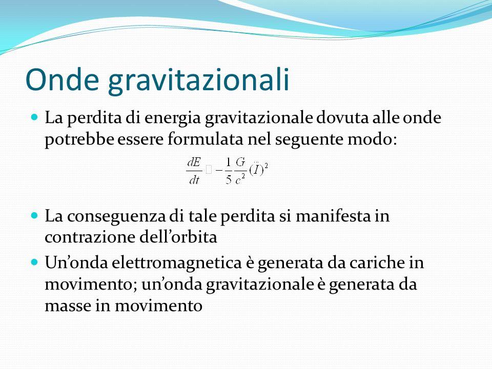 Onde gravitazionali La perdita di energia gravitazionale dovuta alle onde potrebbe essere formulata nel seguente modo: La conseguenza di tale perdita