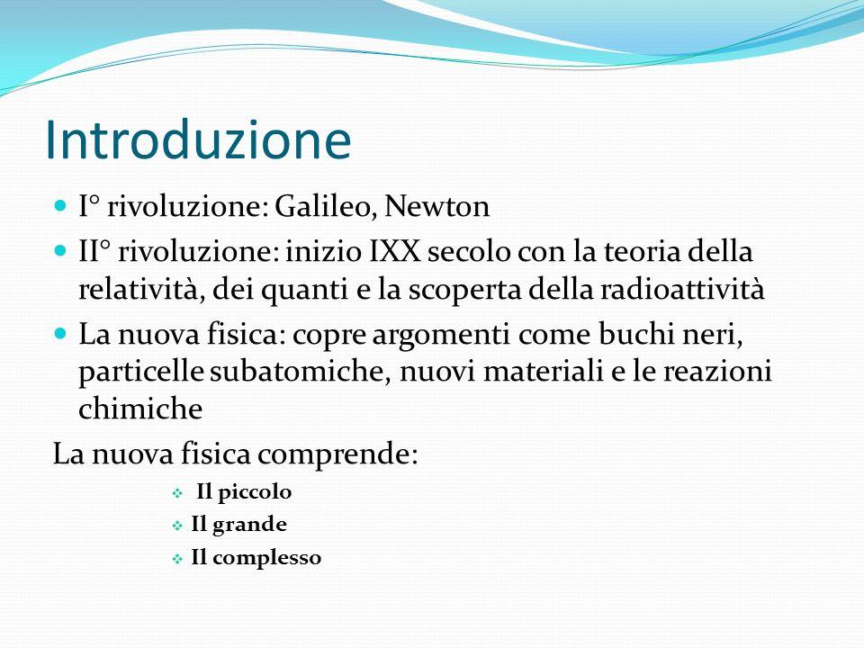 Introduzione I° rivoluzione: Galileo, Newton II° rivoluzione: inizio IXX secolo con la teoria della relatività, dei quanti e la scoperta della radioat