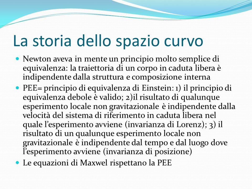 La storia dello spazio curvo Newton aveva in mente un principio molto semplice di equivalenza: la traiettoria di un corpo in caduta libera è indipende