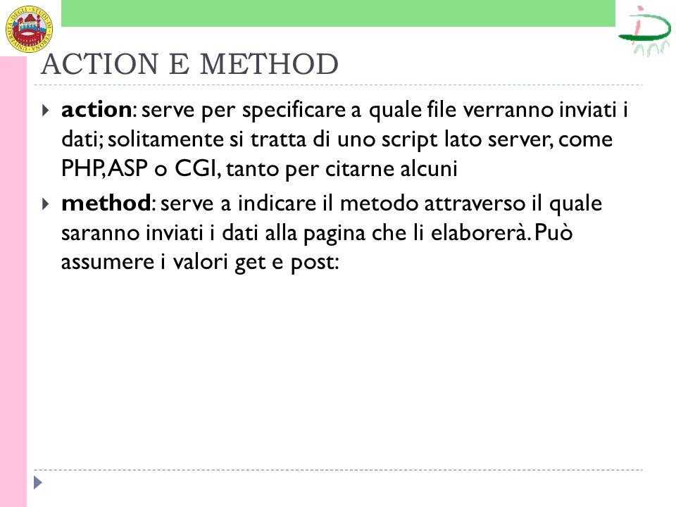 ACTION E METHOD action: serve per specificare a quale file verranno inviati i dati; solitamente si tratta di uno script lato server, come PHP, ASP o CGI, tanto per citarne alcuni method: serve a indicare il metodo attraverso il quale saranno inviati i dati alla pagina che li elaborerà.